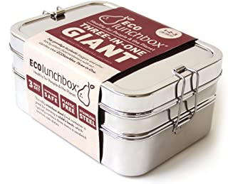ECOlunchbox 3-in-1 Stainless Steel Bento Box, Giant