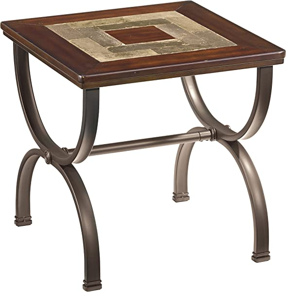 Ashley Furniture Signature Design Zander Chair Side End Table Contemporary Style Accent Table Medium Brown With Mosaic Top
