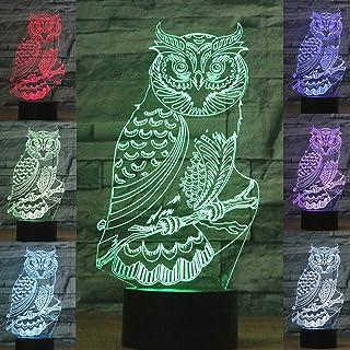 3D Light Owl Illusion Lamps Animals 3D Illusion lamp led Night Light for Boys Optical Illusion 3D Lights for Kids Night la...