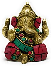 ShopEndHere Beautifully Designed Hindu Religious God/Statue of Lord Ganesh (2.7 Inch Tall) in Solid Brass Metal With Turqu...