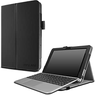 Infiland Asus Transformer Mini T102HA Case, Premium PU Leather Portfolio Stand Cover Case for ASUS 10.1 Inch Transformer Mini T102HA-D4-GR 2 in 1 Touchscreen Laptop- Black