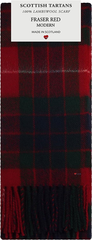 Fraser Red Modern Tartan 100% Lambswool Scarf Made in Scotland