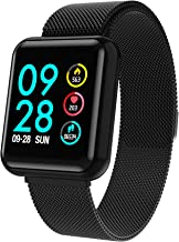 Smart Watch,Bluetooth Smartwatch Touch Screen Wrist Watch,Fitness Tracker with Heart Rate & Blood Pressure Monitor for Android & iOS, Calorie Counter & Pedometer for Women Men Kid, Black (Black)