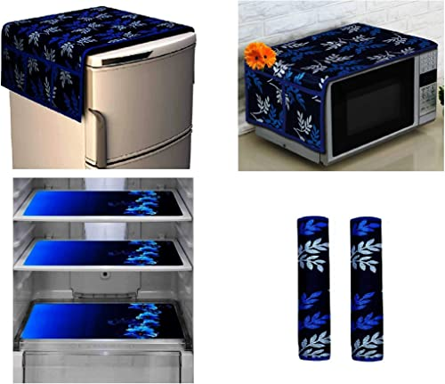 Goel Home Decor Exclusive Decorative Appliance Covers Combo Set of 1Pc Refrigerator Top Cover 2Pc Handle Cover 3Pc Refrigerator Drawer Mats 1Pc Microwave Oven Cover Blue Flower 7 Pieces Set