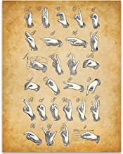American Sign Language - 11x14 Unframed Patent Print - Great Room Decor or Gift Under $15 for Speech Therapists