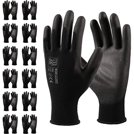 COOLJOB Polyurethane (PU) Coated Safety Work Gloves, 12 Pairs Working Gloves with Grip, One Dozen Bulk Pack, Black, Large Size (12 Pairs L)