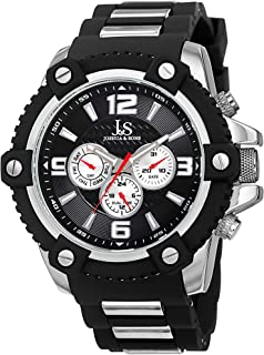 Men's Multifunction Swiss Watch - 3 Subdials, Day, Date and GMT On Silicone Strap - JS94