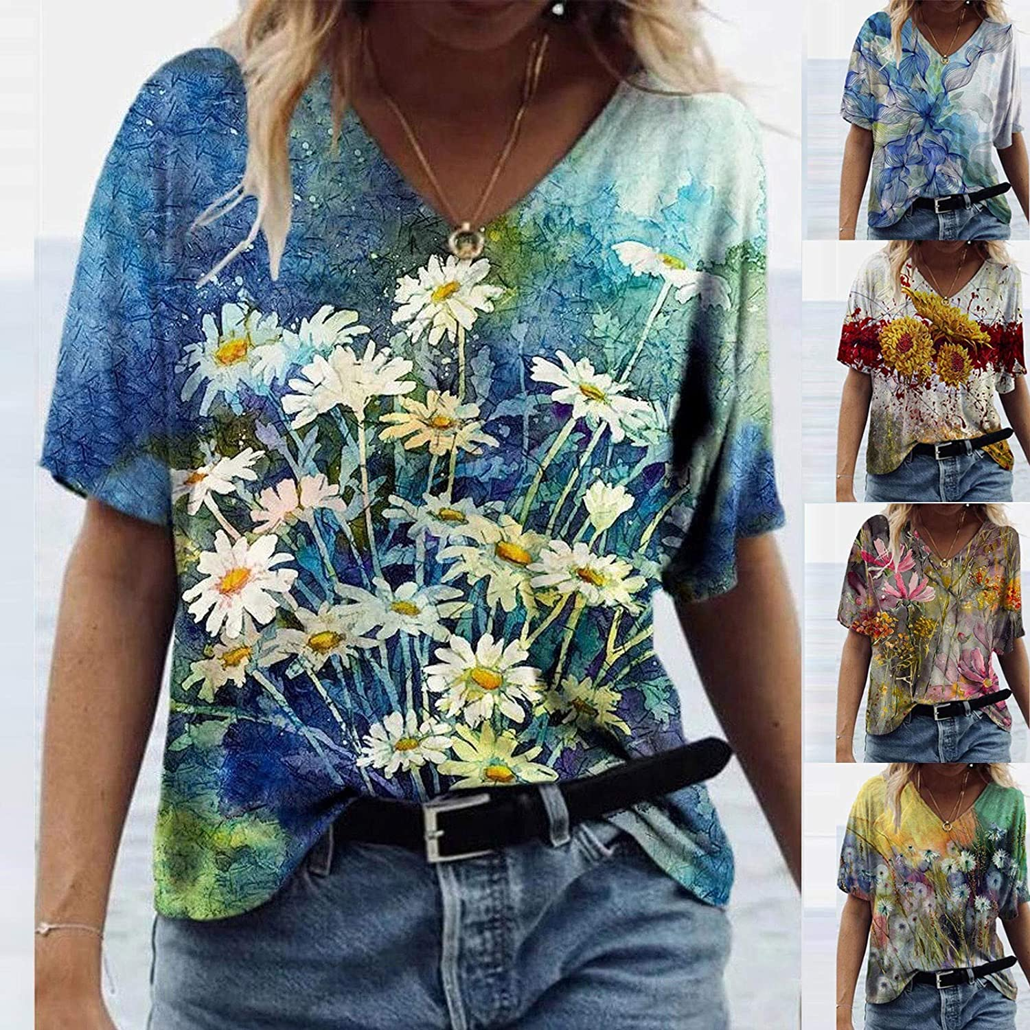 AODONG Summer Tops for Women Short Sleeve, Womens Casual Floral Print Tees Shirt V Neck Funny Shirts Tunics Blouses