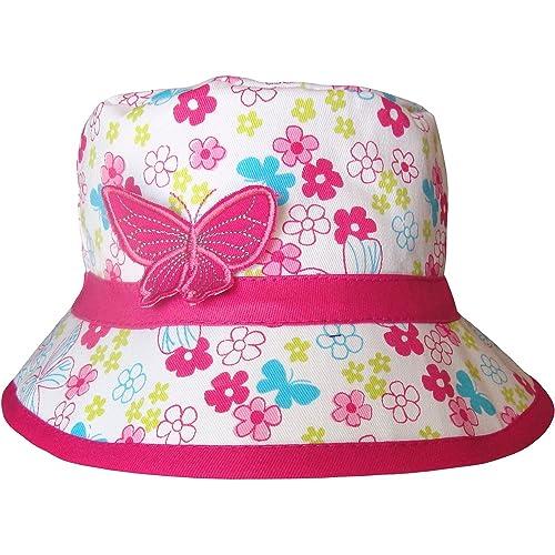 b453a147 Girls Floral Flowers & Butterfly Bucket Style Summer Sun Beach Hat