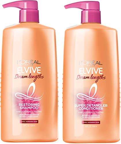 L'Oreal Paris Dream Lengths Shampoo and Conditioner Kit, With Fine Castor Oil & Vitamins B3 & B5 for Long, Damaged Ha...