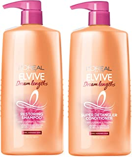 L'Oreal Paris Dream Lengths Shampoo and Conditioner Kit, With Fine Castor Oil & Vitamins B3 & B5 for Long, Damaged Hair, V...