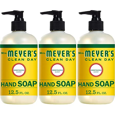 Mrs. Meyer's Clean Day Liquid Hand Soap, Cruelty Free and Biodegradable Hand Wash Made with Essential Oils, Honeysuckle Scent, 12.5 oz - Pack of 3