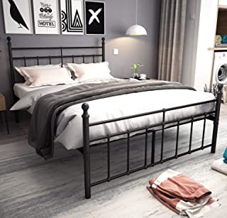 Metal Bed Frame Full Size with black ball Headboard and Footboard The country style Iron-Art Double Bed The Metal Structure, Matte black Baking Paint.Sturdy Metal Frame Premium Steel Slat Support.