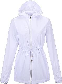 QZUnique Women's Sun Protection Collect Waist Hooded Jackets Quick Dry Windbreaker