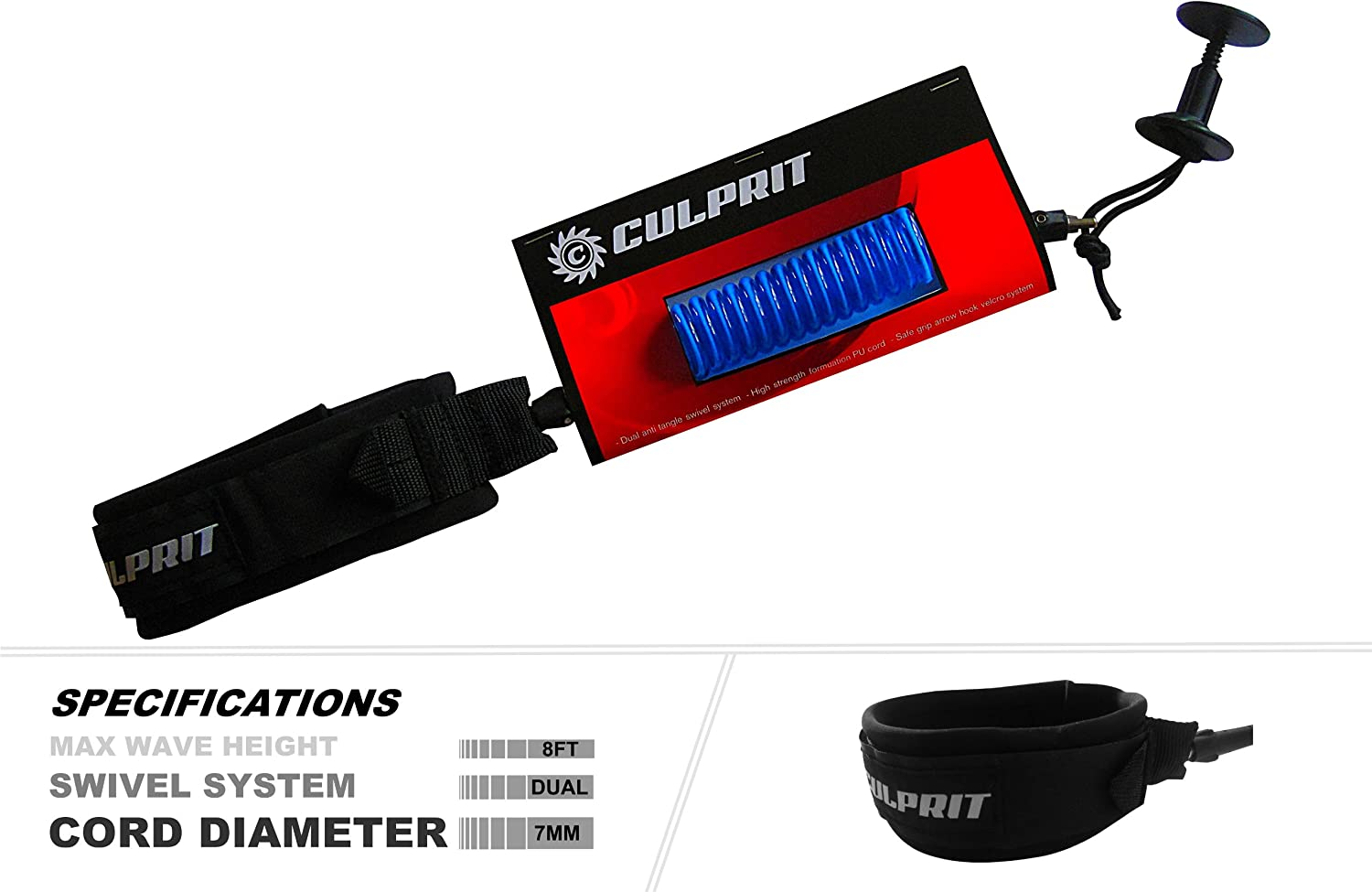 NEW before selling ☆ Culprit Surf Bodyboard Leashes Coil New life
