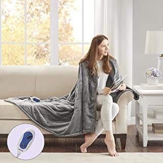 Beautyrest Plush Heated Electric Throw Blanket - Secure Comfort Technology Cozy Soft Microlight to Berber, 60x70, Grey