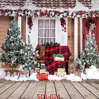 8x8ft Christmas Tree & Outdoor Snow Landscape Theme Pictorial Cloth Vinyl Photography Backdrop Customized Photo Backdrops Background Studio Props SDJ-024
