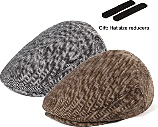 0d9ed1a792c17 LADYBRO Men Newsboy Cap Ivy Hat - 30% Wool Cabbie Hats for Men Irish Tweed