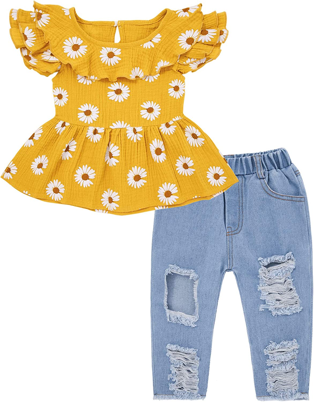Baby Girl Clothes Summer Tops + Jean Pants + Headband 3 Pcs Set Outfits