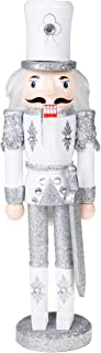 Clever Creations Traditional Wooden Sparkling White and Silver Soldier Nutcracker with Sword Festive Christmas Decor   12