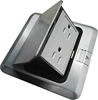 Pop Up Floor Box Countertop Box w/15A with Duplex Receptacle - Brushed-Stainless Finish