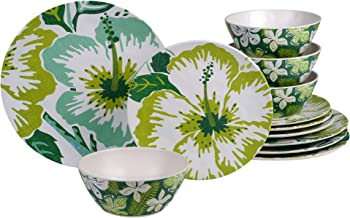 Certified International Tropicali 12 piece Melamine Dinnerware Set, Service for 4, Multi Colored