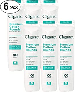 Cliganic Premium Cotton Rounds | Makeup Remover Pads, Hypoallergenic, Lint-Free | 100% Pure Cotton (600 Count)