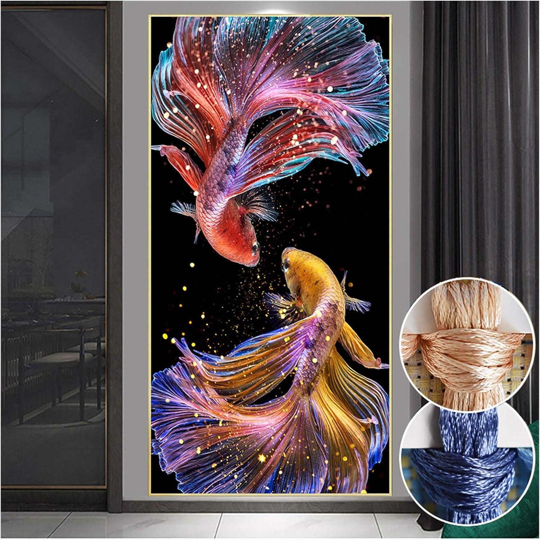 XIAOFANG Costura, Bricolaje imprimido Princesa de Peces de Colores de Goldfish, Conjuntos de Kit de Bordado Bordado Completo koi Costura Cruzada decoratio