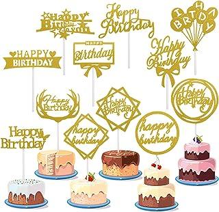 Zonon 48 Pieces Glitter Happy Birthday Cake Topper Shining Cake Toppers Birthday Cupcake Topper Various Cake Decorations f...