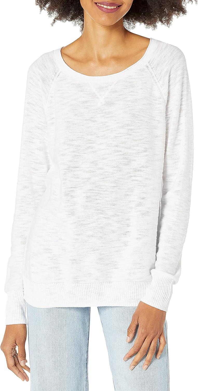 Amazon Brand - Daily Ritual Women's Lightweight Open-Crewneck Raglan Pullover Sweater