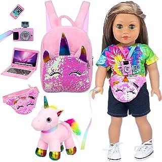 لوازم جانبی عروسک دخترانه Ecore Fun 6 Piece 18 اینچی شامل عروسک TET اسباب بازی دوربین لپ تاپ مناسب برای عروسک دختر 18 اینچی و کوله پشتی بچه گانه تک شاخ بهترین هدیه برای فرزند شما