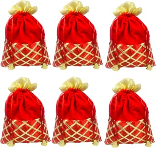 Evisha Women's Red Velvet Satin Potli/Pouch/Handbag (25x18 cm) -6 Pieces