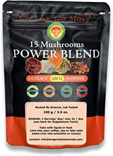 Sponsored Ad - Organic 15 Mushroom Blend Powder Extract, Adult Strength, 100 Grams / 2 Month Supply, No Filler