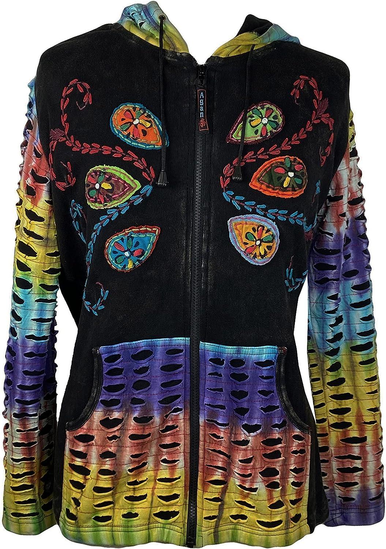 Agan Traders Women's Boho Tie Dye Rainbow Patch Work Razor Cut Hoodie Sweatshirts Jacket Outwear