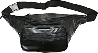 Garrison Grip Concealed Carry Four Zipper Black Leather Waist Fanny Pack with Locking Gun Compartment for Medium to Small Guns. One Lock Included.