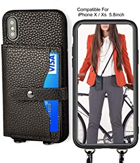 iPhone Xs Wallet Case,iPhone X Crossbody Case with 4 Credit Card Slot Leather iPhone Case, Detachable Crossbody Strap for Women Compatible for iPhone X/Xs 5.8inch