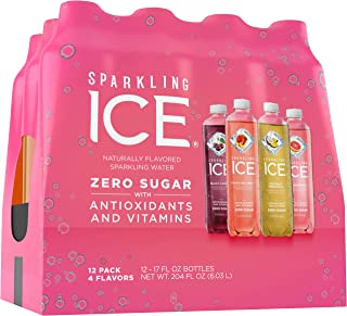Sparkling Ice Variety Pack, 17 Fl Oz, 12Count (Black Cherry, Peach Nectarine, Coconut Pineapple, Pink Grapefruit) Packaging May Vary