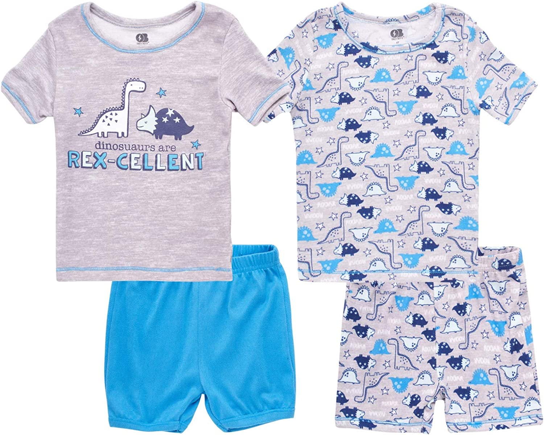 Only Boys Baby Boys' Pajama Set - 4 Piece Short Sleeve T-Shirt and Shorts Sleepwear Set (Infant/Toddler), Size 2T, Grey T-Rex