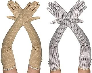 Rusoji 2 Pairs Women's Breathable Anti-UV Sun Block Long Arm Sleeves Touch Screen Driving Gloves