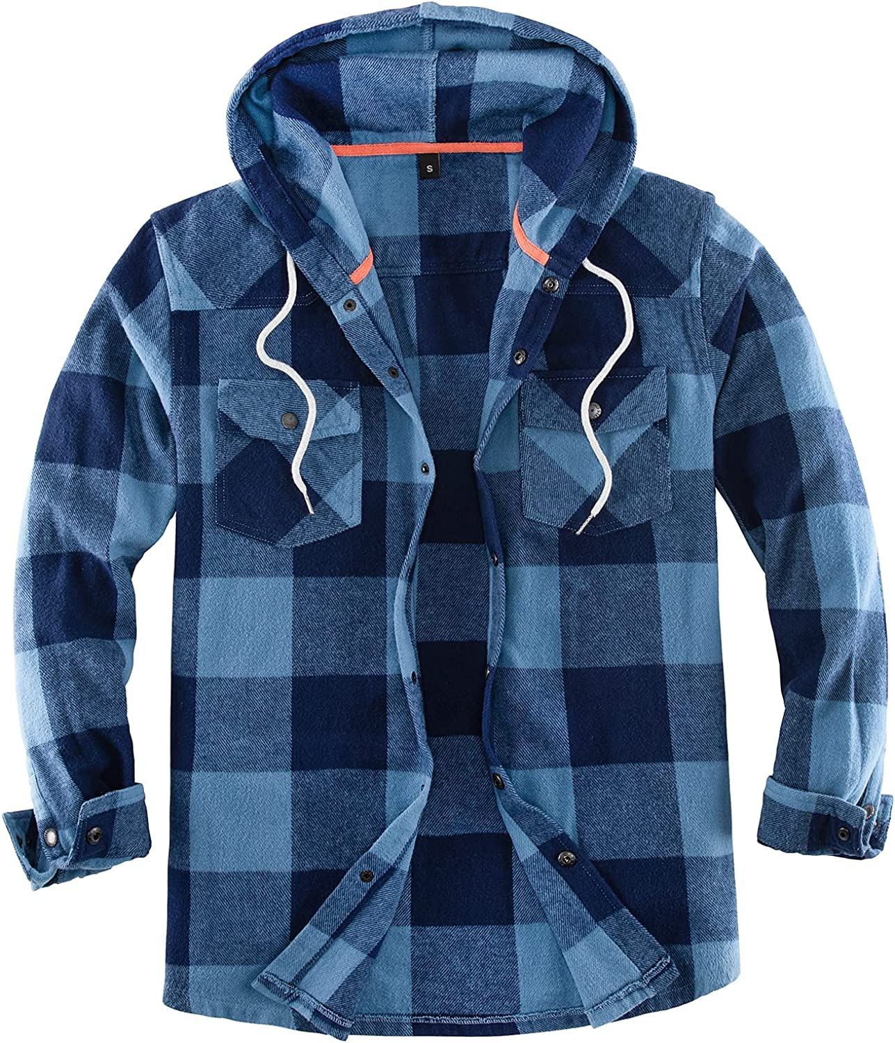 Mens Flannel Jacket with Hood,Plaid Flannel Shirt Jackets with Hand Pockets(Not Paper Thin)