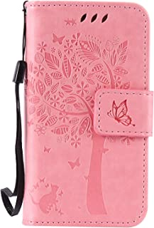 iPhone 4S Case,iPhone 4 Case,Wallet Case,PU Leather Case Floral Tree Cat Embossed Purse with Kickstand Flip Cover Card Holders Hand Strap for iPhone 4 / 4S Pink