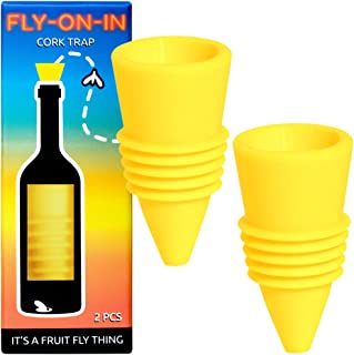 Fly On In, Fruit Fly Bottle Top Trap – Reusable Non-Toxic Indoor/Outdoor Catcher (Yellow, 2 pcs)