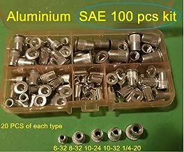 100 Pcs SAE Rivet Nut Rivnut Aluminum Assort Kit 6-32 8-32 10-24 10-32 1/4-20
