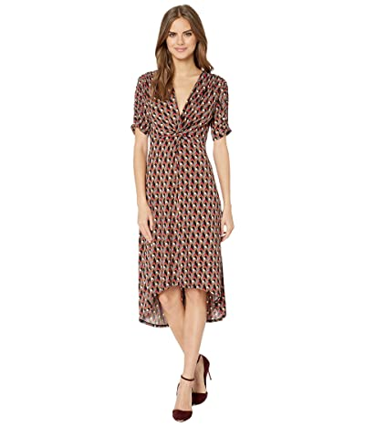 BCBGMAXAZRIA Twist Front Midi Dress (Cerise/Paradox Maze) Women