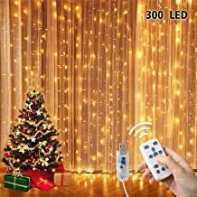 Henscoqi Curtain String Lights, 300 LED Twinkle Lights for Backdrop Patio Wedding Parties, USB Decorative LED Curtains with 8 Modes Remote Timer (9.8ft x 16.4ft)