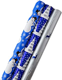 Hallmark Reversible Christmas Wrapping Paper Bundle, Blue and White (Pack of 3, 120 sq. ft. ttl.)
