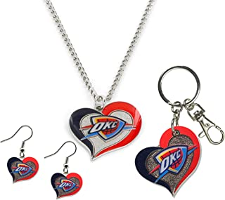NBA Swirl Heart Collection Stainless Steel Keychain, Earings and Necklace Gift Bundle