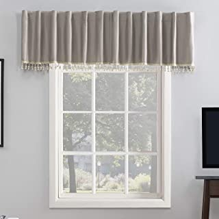 Sun Zero Greyson Faux Dupioni Silk Beaded Tassels Extreme 100% Blackout Back Tab Curtain Valance, 50