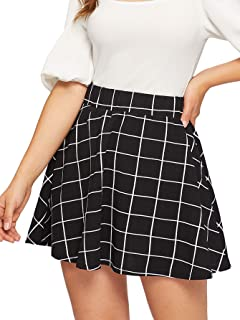 Women's Summer Basic Plaid Flared Pleated Mini Skater Skirt