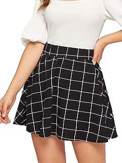 SheIn Women's Summer Basic Plaid Flared Pleated Mini Skater Skirt